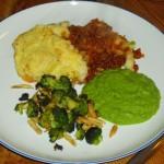 Shepherd's pie – med ærtepuré og mandel-broccoli
