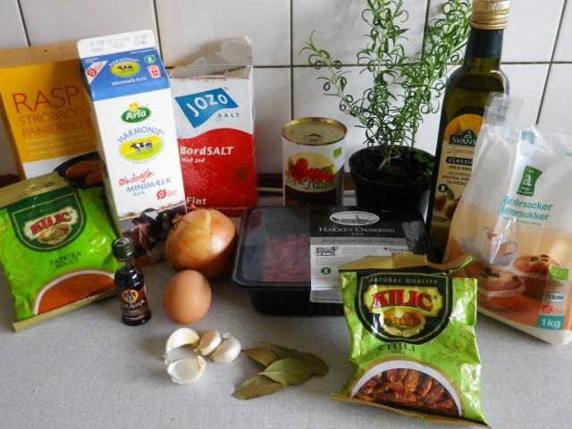 spanske kødboller - ingredienser