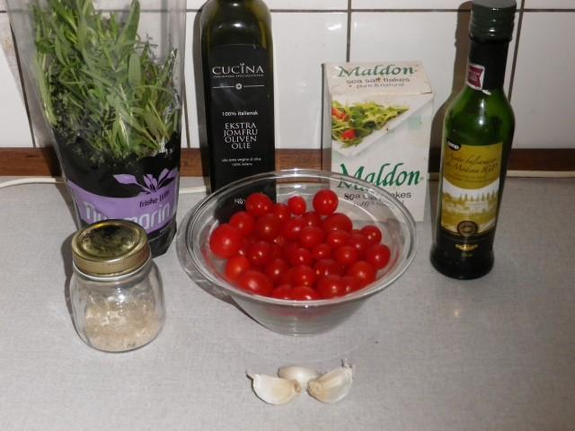 langtidsbagte tomater - ingredienser