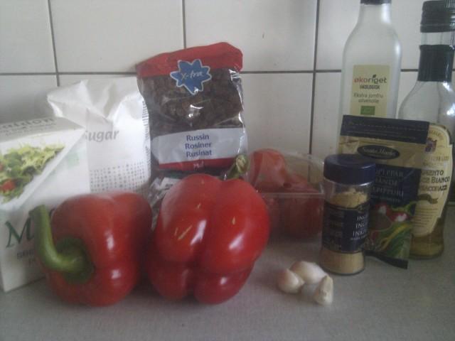 Tomatchutney-ingredienser