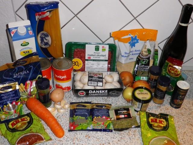 Spaghetti-og-kødboller-ingredienser