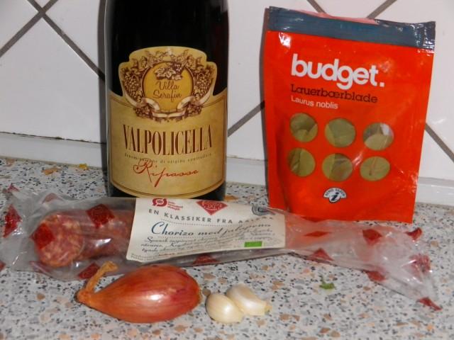 Chorizo-i-rødvin-ingredienser
