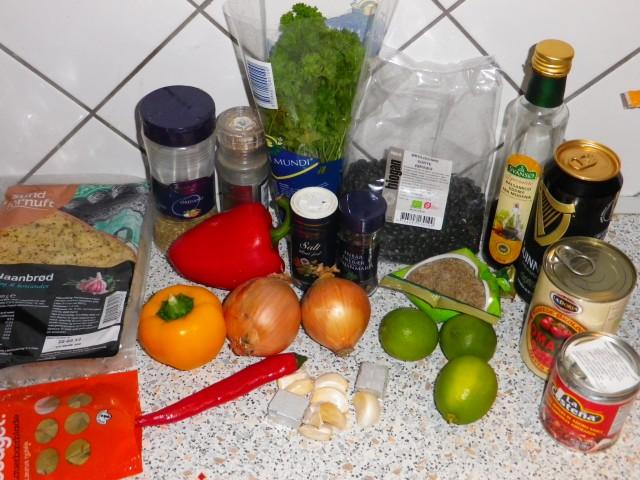 Sort bønnesuppe ingredienser