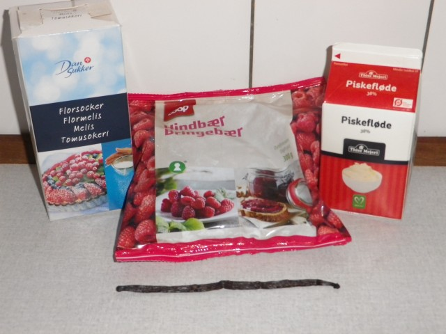 lagkage -hindbærmousse - ingredienser